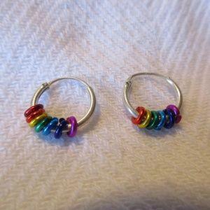 Silver-Toned Rainbow Hoop Earrings